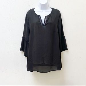 Pleione Black Semi-Sheer Popover Tunic Top Size 1X